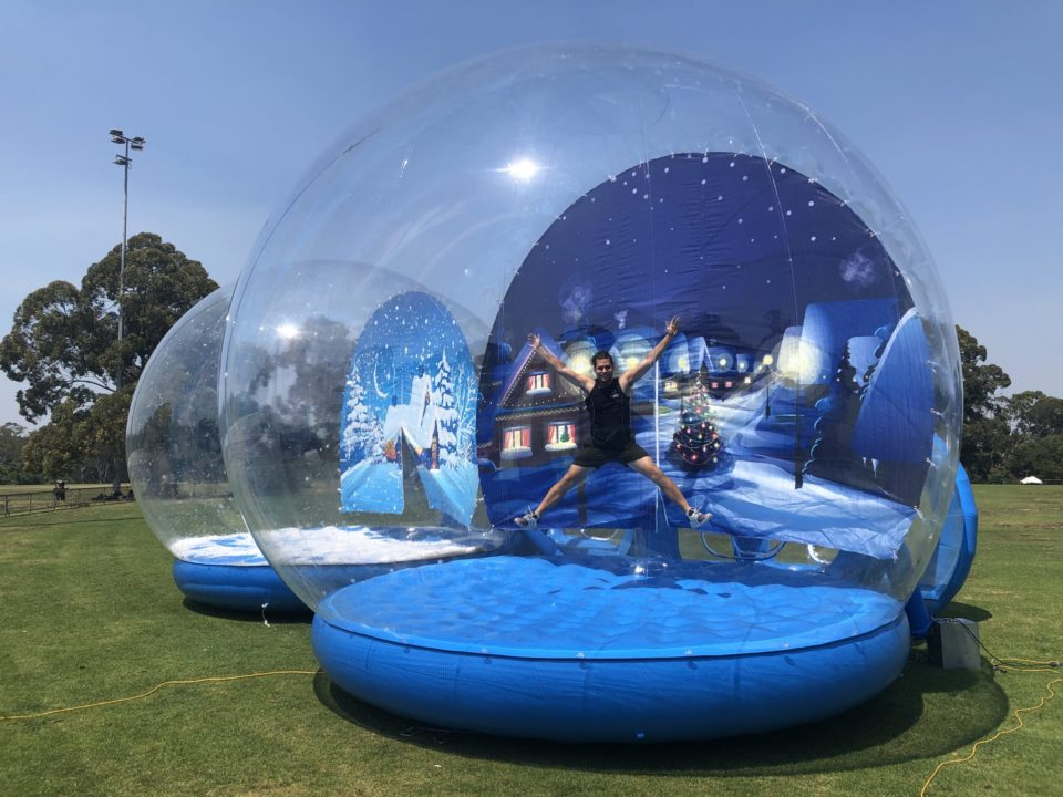 Side View of Snow Globe for hire